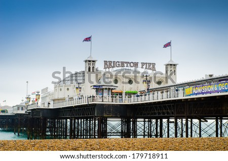 Brighton Pier, UK in Autumn - stock photo