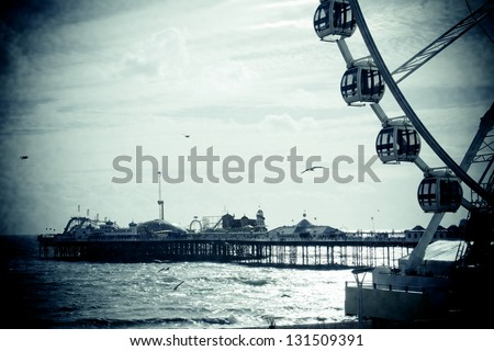 Brighton Pier with Ferris Wheel - stock photo