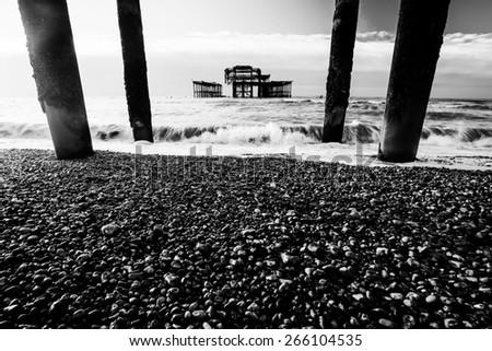 Brighton's famous derelict West pier, taken Christmas day 2014 - stock photo