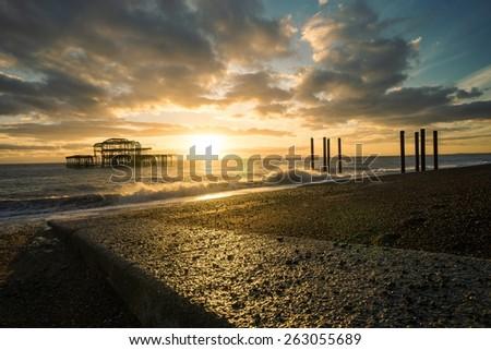 Brighton's West pier, taken at sunset, late 2014. - stock photo