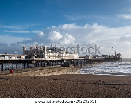 BRIGHTON, SUSSEX/UK - FEBRUARY 15 : Brighton after the storm in Sussex on February 15, 2014. Unidentified people - stock photo