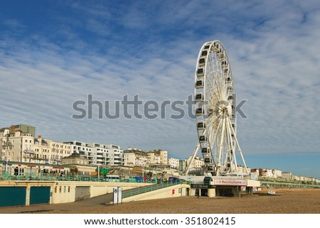 BRIGHTON, SUSSEX/UK - MARCH 5 :Brighton's location has made it a popular destination for tourists. Ferris Wheel at the Brighton pie on march 5, 2014.
