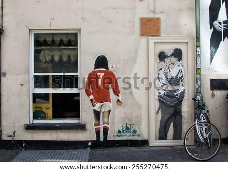 BRIGHTON, UK / CIRCA AUGUST 2014 - Impressive graffiti made by unknown artist seen on Street public gallery - stock photo