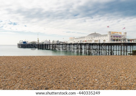 BRIGHTON, UK - OCTOBER 20, 2015: The brighton marine palace and pier, one of the main attractions of the city. Since 1971 it's listed as a national monument