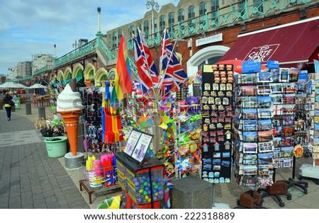 Brighton, United Kingdom - October 02, 2014: Tourist souvenirs for sale on Brighton Beach and Boardwalk.  - stock photo