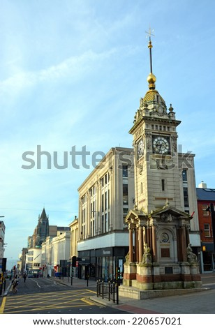 Brighton, United Kingdom - September 28, 2014: Historic Clock Tower in early morning summer sunshine in Brighton, England. - stock photo