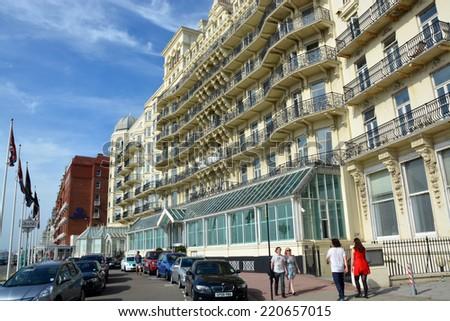 Brighton, United Kingdom - September 28, 2014: The Historic Victorian Grand Hotel on the beachfront in Brighton. - stock photo