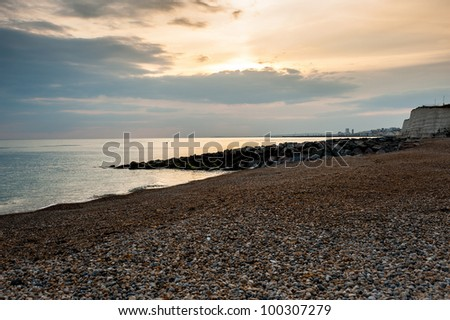 Brighton west beach evening light - stock photo