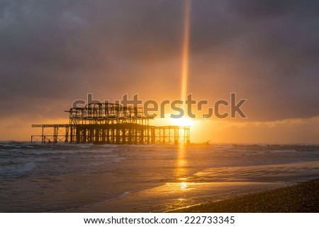 Brighton West Pier at Sunset, Sussex, England, UK - stock photo
