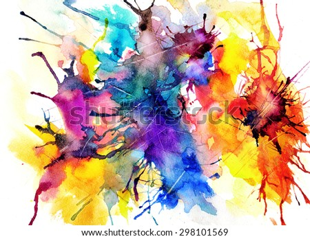 brights abstract watercolor painting - stock photo