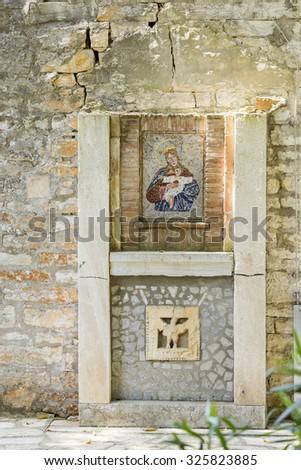 BRIJUNI, CROATIA - MAY 2015 - An ancient Byzantine image of Saint Virgin Mary and Jesus at National Park Brijuni. - stock photo