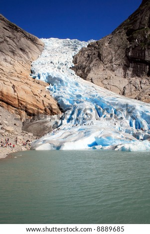 Briksdalsbreen Glacier in Jostedalsbreen, Norway - melting because of Global warming