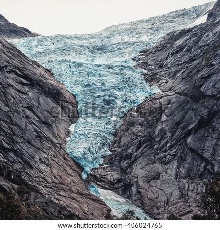 Briksdalsbreen glacier in Norway. Summer season. - stock photo