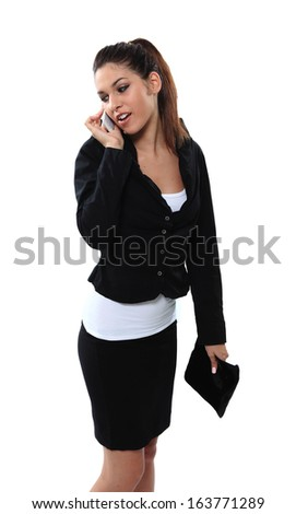 Briliant business girl with wallet bag and phone calling