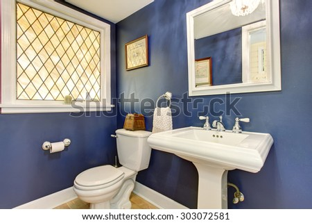 Brilliant bathroom with blue walls, and hardwood floor. - stock photo