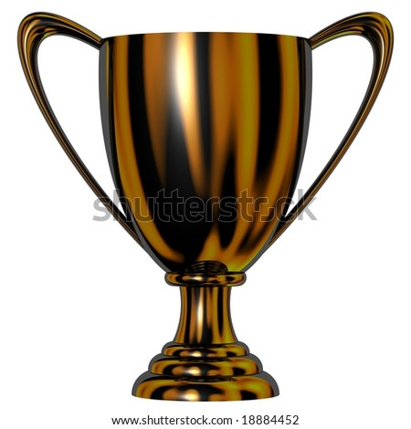 Brilliant black trophy cup isolated on white - stock photo