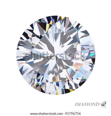 brilliant cut diamond isolated on white background - stock photo