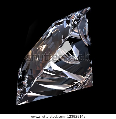 Brilliant diamond on black background - stock photo