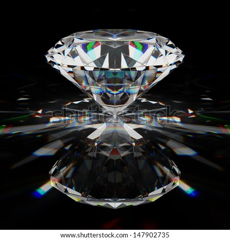 Brilliant diamond on black surface - stock photo