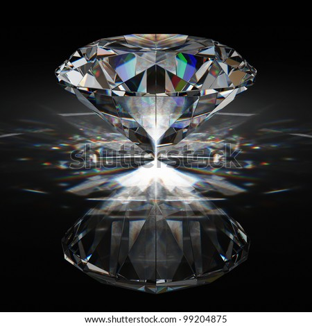 Brilliant diamond on black surface - stock photo