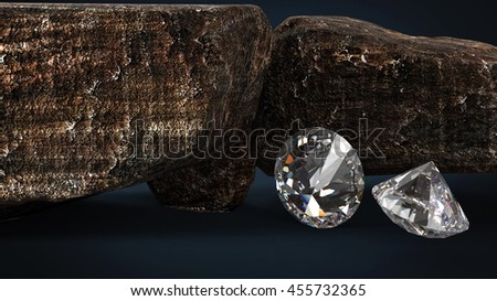 Brilliant diamonds and rocky boulders 3d illustration - stock photo