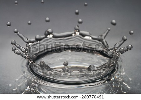 brilliant drops transparent water on gray background - stock photo