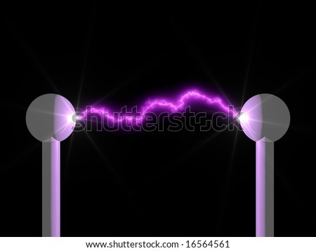 Brilliant electric arc in a science laboratory isolated on black - stock photo
