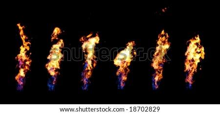 Brilliant fire flumes on black - stock photo