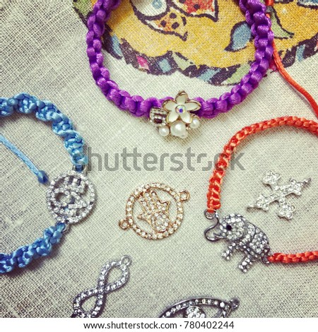 Brilliant Friendship Macrame Bracelets Made By Stock Photo Royalty