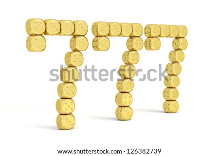 Brilliant gold dice group, number seven shaped - stock photo