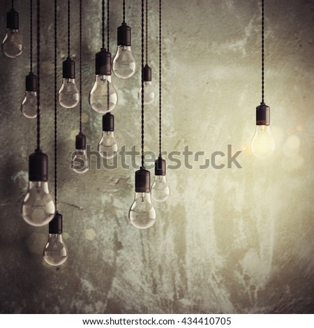 Brilliant idea among many ideas 3d rendering - stock photo