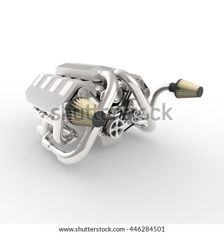 Brilliant large automotive V8 engine with a turbocharger. 3d rendering. - stock photo