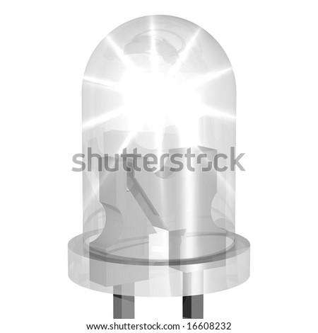 Brilliant LED isolated on white - stock photo