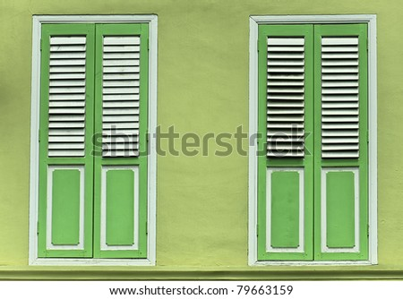 """Brilliant Lime Green shutter window doors. Photographer: Paul w Sharpe aka Wizard of Wonders™ """"Wizard of Wonders™ All Rights Reserved copyright 2011"""" - stock photo"""