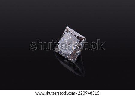 Brilliant luxury square diamond on black background - stock photo