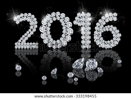 Brilliant New Year 2016 is a diamond jewelry illustration on a black background. - stock photo