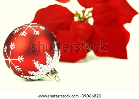 Brilliant red christmas ball with poinsettia on the white background - stock photo