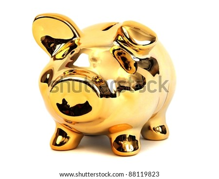 brilliant shining golden piggy bank - stock photo