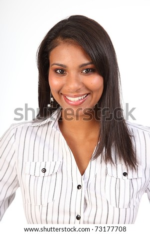 Brilliant smile from young business woman in white shirt - stock photo