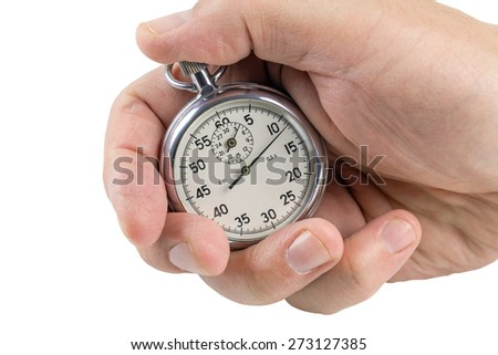 Brilliant stopwatch squeezed in the palm on a white background.