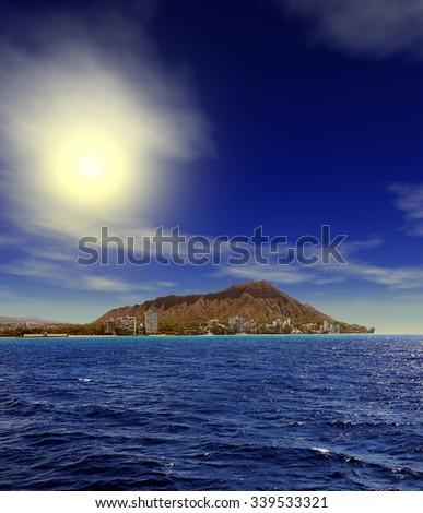 Brilliant Sunrise over Diamondhead Honolulu Hawaii USA - stock photo