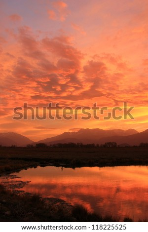 Brilliant sunset in the Utah mountains, USA. - stock photo