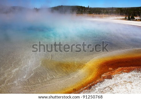 Brilliantly contrasting colors of turquoise, aqua-green, deep blue, surrounded by rusty red microbes of bacteria and chemicals is thermal pool in Midway Geyser Basin of Yellowstone National Park