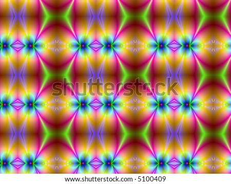 Brilliantly funky psychedelic fractal quilt (pink, green, orange and blue) - stock photo