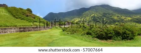 Brimstone Hill Fortress below Mount Liamuiga - St Kitts - stock photo