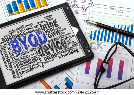 bring your own device word cloud with related tags - stock photo