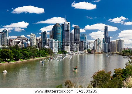 Brisbane, AUS - 18 NOV 2015: View from Kangaroo point overlooking Brisbane City and river during a sunny day. - stock photo