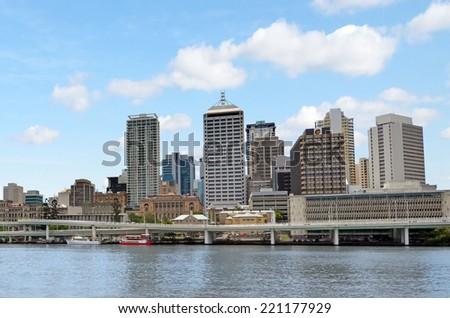 BRISBANE, AUS - SEP 24 2014: Brisbane Skyline. It is Australias third largest city, with its fastest growing economy in Australia. - stock photo