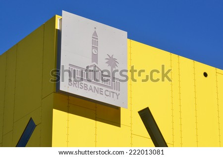 BRISBANE, AUS - SEP 25 2014:City of Brisbane symbol.It's local government area that has jurisdiction over the inner portion of the metropolitan area of Brisbane, the capital of Queensland, Australia. - stock photo