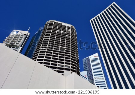 BRISBANE, AUS - SEP 26 2014: Skyscrapers at Little Singapore -Brisbane Riverside Quarter. ItÃ?Â??s home to some of the cityÃ?Â??s most exciting restaurants, bars and eateries in Brisbane, Australia. - stock photo